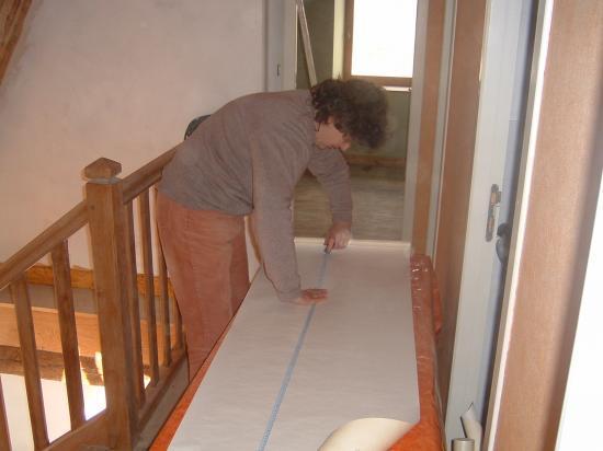 Sylvie prépare les lés
